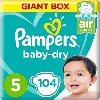 Pampers Baby-Dry Diapers, Size 5, Junior, 11-18kg, Giant Box, 104 Count