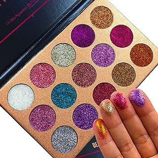 Beauty Glazed Pigmented 15 Colors Pressed Glitter Eyeshadow Palette Shiny Mineral Powder Eyes...
