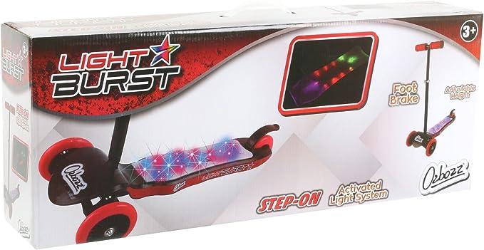 Black /& Red Girls Boys 3  Wheel Tri LED Ozbozz Light Burst