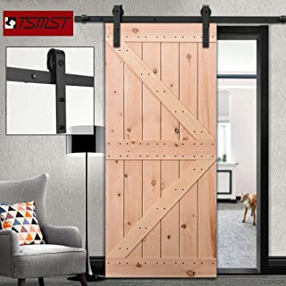 TSMST 6.6ft Heavy Duty Sliding Barn Door Hardware Kit, Single Door Sliding Door Track,Pre-drilled Holes Easy to Install,Smoothly and Quietly,Fit 1 1/4