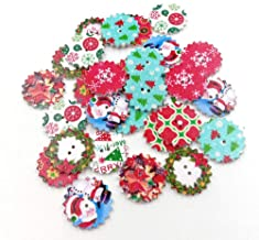 Fenical Bottoni Natalizi in Legno 50 Pezzi Bottoni a 2 Fori per Cucire Bottoni Artigianali