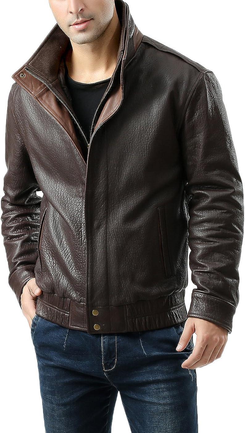 BGSD Men's Brandon New Zealand Lambskin Leather Bomber Jacket