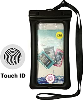 CLighting Fingerprint Unlock Waterproof Phone Case, Floating Pouch TPU Dry Bag Universal for iPhone Samsung HTC LG Sony Cell Phone up to 7.0'', Water Parks, Hiking, Boating, Kayaking, Rafting, Beach