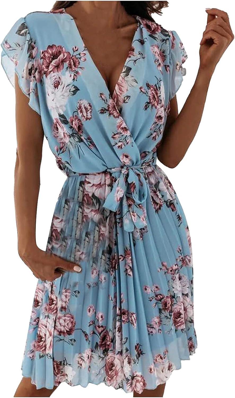 Women's Slim Cap Sleeves High Waist Floral Pleated Waist Dress