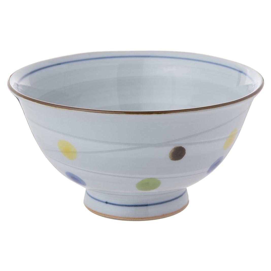 社会主義者軽量ホバートランチャン(Ranchant) 茶碗(大) マルチ Φ12.9x6.6cm 水玉彫渦 有田焼 日本製