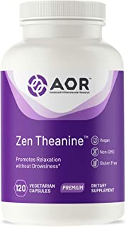 AOR, Zen Theanine, Natural Supplement to Promote Relaxation, Fast-Acting Non-drowsy Formula, Vegan, 120 Capsules (120 Serv...