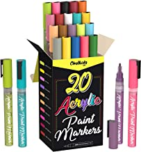 Acrylic Paint Pens for Rock Painting, Stone, Ceramic, Glass, Wood, Canvas - Set of 20 Colors, Fine Tip Water Based Paint M...