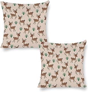 Milu Deer rolig dekorativ fyrkantig prydnadskudde överdrag kuddöverdrag 40 x 40 cm för bäddsoffa vardagsrum set med 2