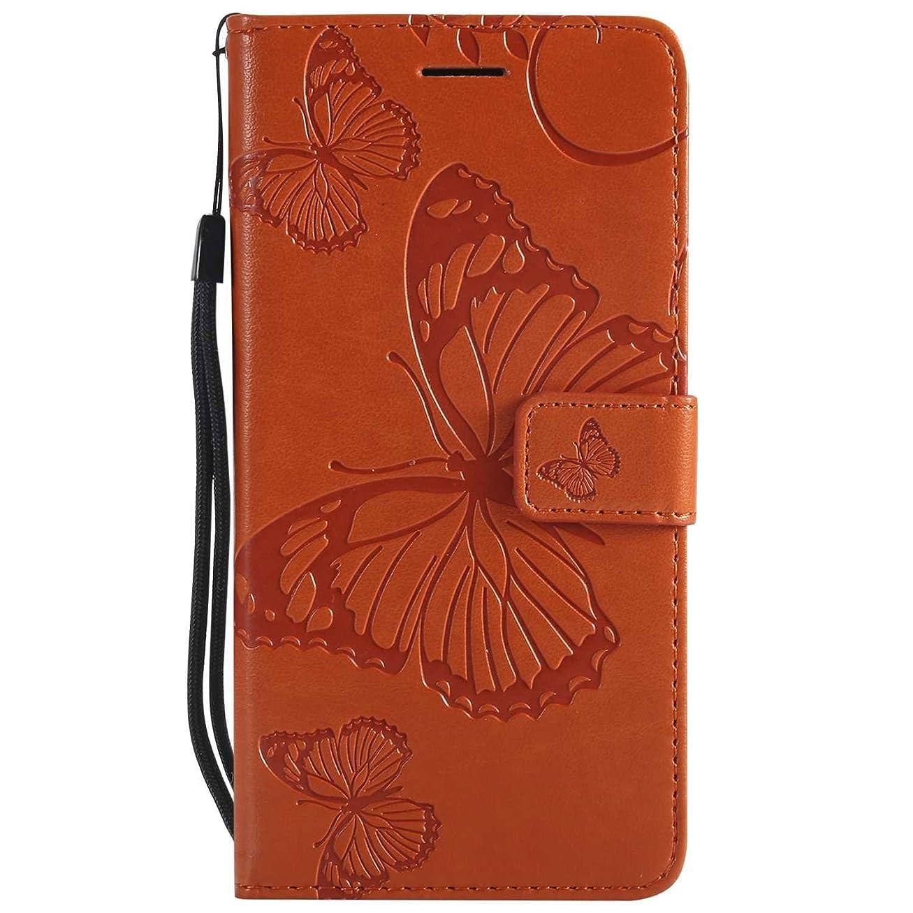 再発するとても多くのせせらぎCUSKING Huawei P10 Lite ケース Huawei P10 Lite カバー ファーウェイ 手帳ケース カードポケット スタンド機能 蝶柄 スマホケース かわいい レザー 手帳 - オレンジ