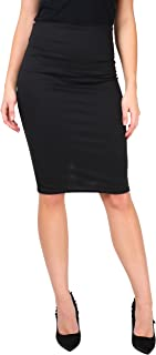 Women High Waisted Pencil Midi Bodycon Skirt Ladies Stretch Fitted Work Party