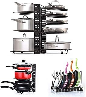 Fimghsoo Porte-casseroles Détachable Support Acier 3 en 1 Organiseur de Poêle avec 8 Compartiments Réglables Rangement de ...