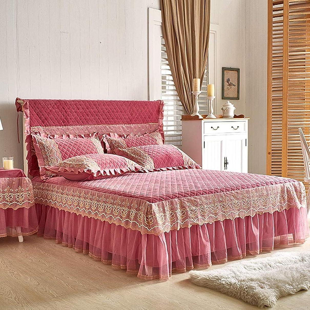 洗剤バスバスタブ高級コットンスエードベッドスカートスーツ機洗える寝具プリーツベッドカバー弾性バンド固定滑り止め保護ケース - ほこり (色 : B pink, サイズ さいず : 180cmx220cm suit)