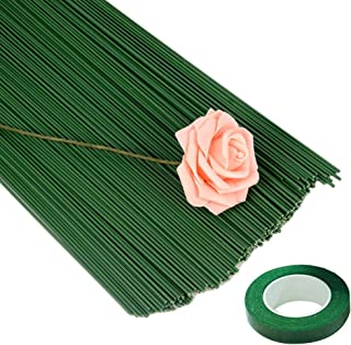 100 Pieces 16 Inches Floral Stem Wire Flower Arrangements with 1 Roll Flower Paper Tape, Floral Wire for DIY Crafts Flower...