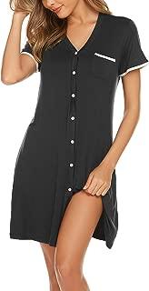 Short Sleeve Nightgowns for Women, Cute Pajama Top Buttom Down Sleep Shirt Dress