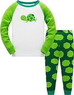 TEDD Conjunto de pijama, camiseta de manga larga con estampado de dinosaurio, algodón, ropa de dormir para invierno [2 pie...