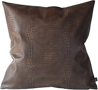Kdays Dark Brown Crocodile Skin Thick & Soft Faux Leather Pillow Cover Decorative for Couch Throw Pillow Case Brown Leather Cushion Modern Minimalist Waterproof Pillow Cover 18x18 Inches