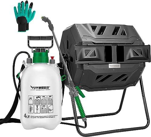 2021 VIVOSUN Dual Rotating Batch Compost Bin outlet sale with 1 Gallon Pump outlet online sale Pressure Sprayer outlet sale