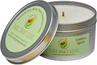 8 oz Silver Cantina Spirit Candle - Clean Burning Soy Wax, Pure Essential Oils Scented, Organic Hemp Wick, Reusable Tins, Hand Poured in Austin TX, Pet & Kid Friendly