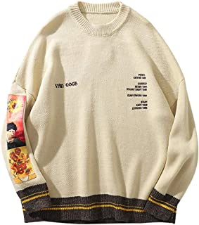 Mens Long Sleeve Van Gogh Printed Cable Knit Sweaters...