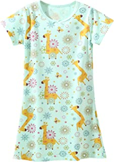Image of Green Short Sleeve Cute Giraffe Nighgown for Girls - Also Available in Pink