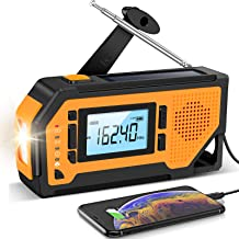Emergency Solar Hand Crank Radio- Aiworth AM/FM/NOAA Weather Radio with Large LCD Display, Portable Hurricane Survival Rad...