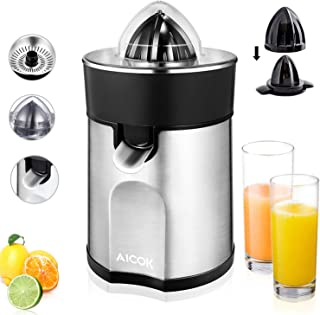 Aicok Presse-agrumes électrique en aluminium avec bec anti-gouttes et 2cônes interchangeables pour jus d'orange, citron, ...