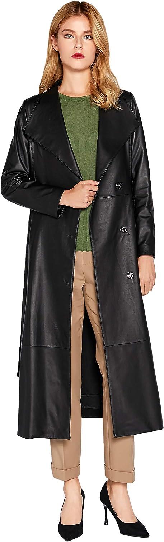 Women's Genuine Leather Trench Coat Black Lambskin Long Leather Jacket Coat with Belt SmartUniverseWear