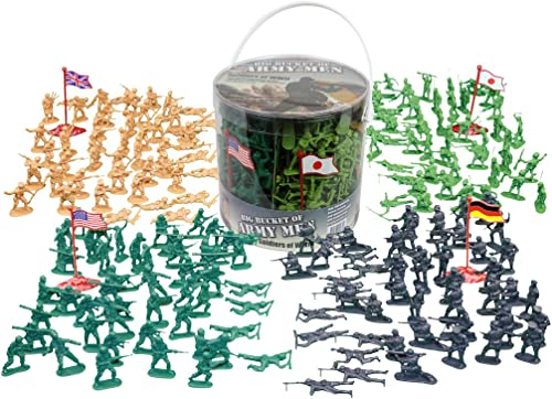 Army Hommes Action Figures -soldiers of WWII- Big Bucket of Army Soldiers - Over 200 Piece Set