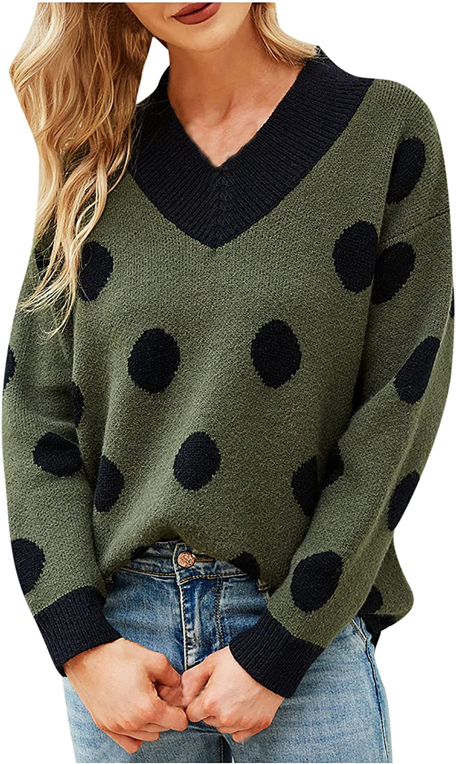 Fall Women Long Sleeve Knit Sweater V Neck Retro Polka Dot Pullover Casual Knitted Sweater Top
