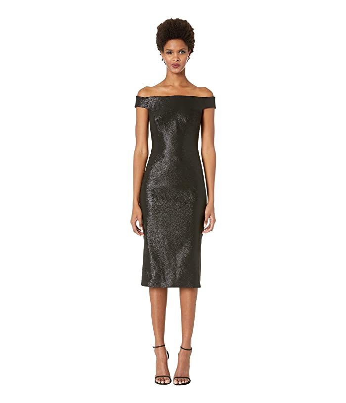 Zac Posen Lurex Party Jacquard Dress (Gunmetal) Women's Dress