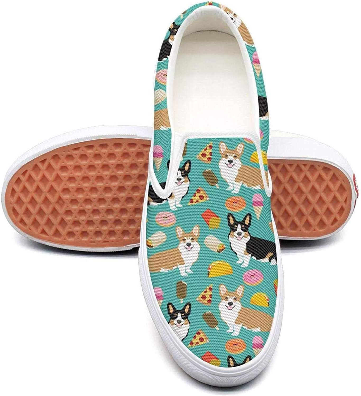Lalige Pet Pug Cute Pizza Women Funny Canvas Slip-ONS Sneakers shoes
