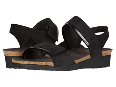 Naot Aisha Wide (Black Velvet Nubuck/Black Madras Leather) Women