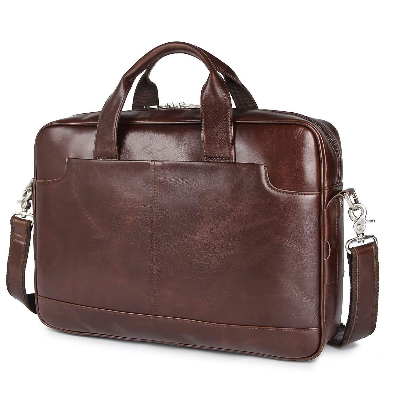 Augus Leather Briefcase Waterproof Messenger