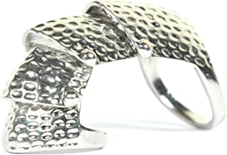 Magic Metal Hinged Armor Ring Size 5.5 Finger Silver Tone Plate Scales RB32 Knuckle Cocktail