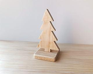 Árbol de Navidad de madera de pino natural y estilo nórdico - Altura: 15 cm - Decoración minimalista para el hogar