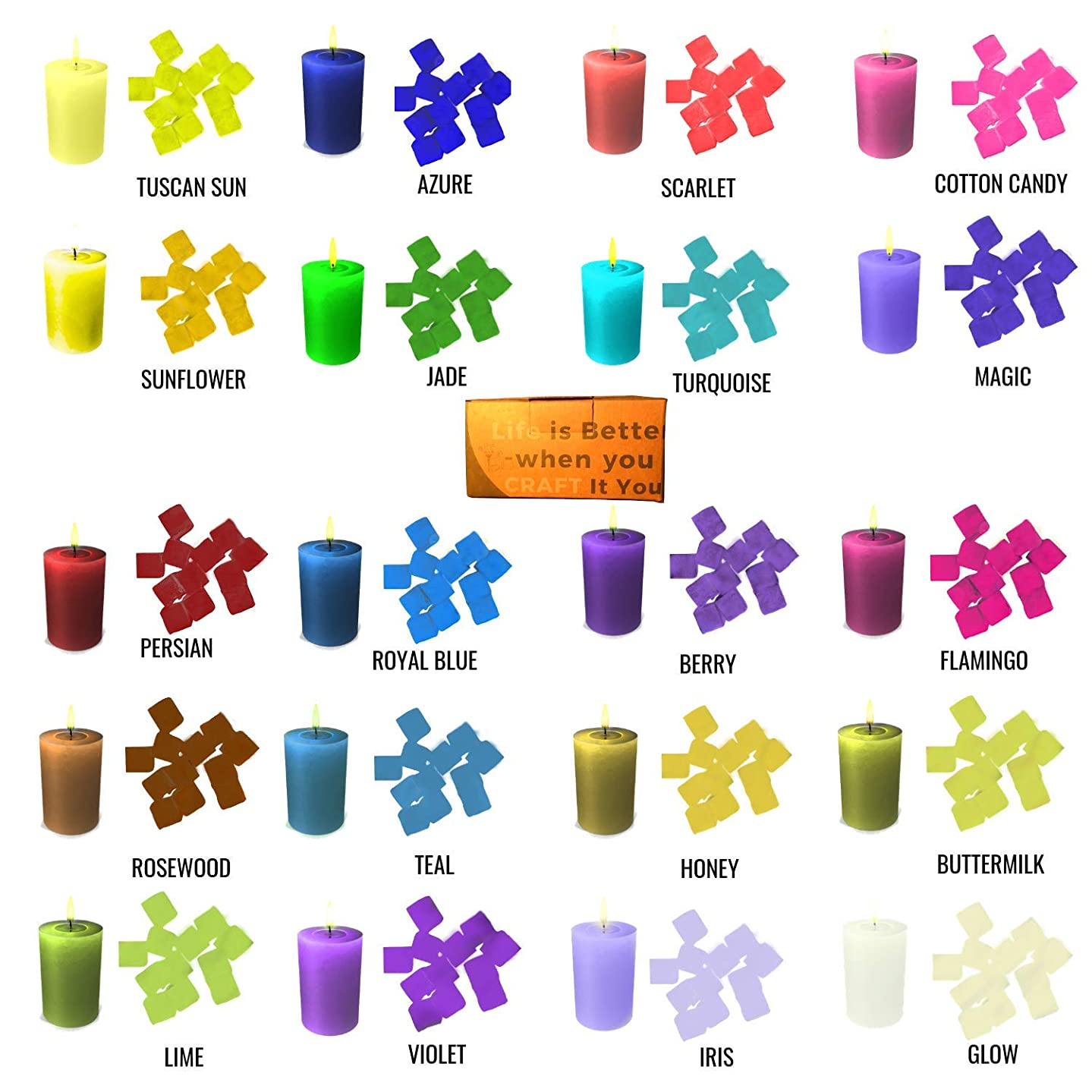 20 Color Wax Dye – DIY Candle Dye - Dye Cubes for Candle Making Supplies Kit - Soy Dye for Candle Molds - for Soy Candle Wax Kit – for Hemp Candle Wicks - for Making Scented Candles pfw841224146