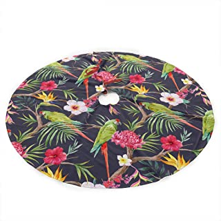 ALASFC Christmas Tree Skirt 35.5 Inch,Flowers of Hibiscus Protea Print Rustic Xmas Tree Holiday Decorations