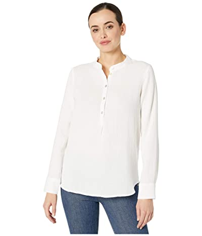 Three Dots Double Gauze Long Sleeve Henley (White) Women