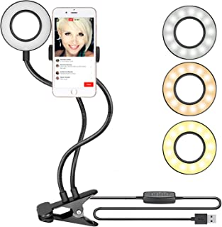 Neewer Clamp-on Selfie Ring Light with Cell Phone Holder for Live Stream, Youtube Video, Dimmable (3-Light Mode,8-Level Br...