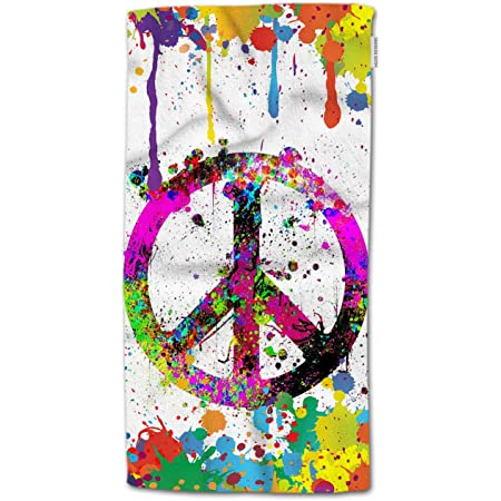 Amazon Com Hgod Designs Peace Symbol Hand Towels Colorful Splash Peace Symbol Sign Painting Soft Hand Towel For Bathroom Kitchen Yoga Gym Decorative Towels 15 X30 Home Kitchen