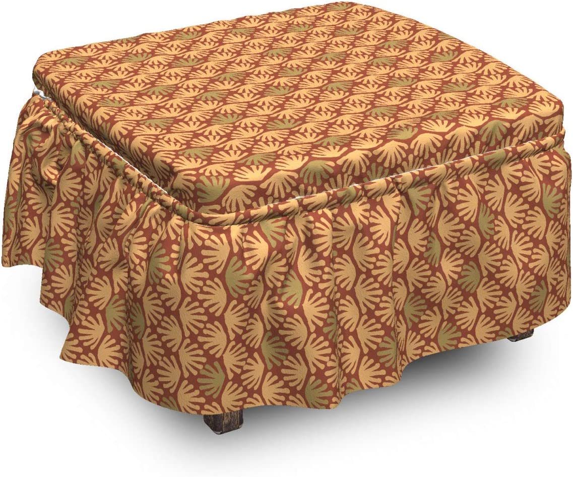 Department Super sale period limited store Lunarable Abstract Ottoman Cover Shapes Tones in Warm 2 Earth