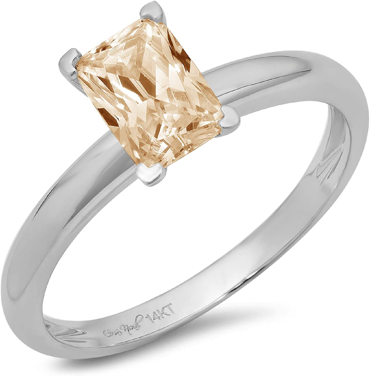 0.9ct Brilliant Emerald Cut Solitaire Designer Genuine Natural Morganite Ideal VVS1 4-Prong Engagement Wedding Bridal Promise Anniversary Ring Solid 14k White Gold for Women