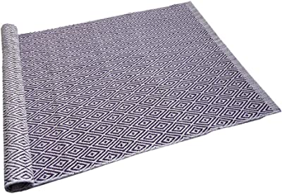 Ukeler 100% Cotton Diamond Rug Door Mat Super Soft Anti-Fatigue Bathroom Rugs Hand-Woven Geometric Throw Rugs Fully Reversible - Mat Size 23.6''x35.4'', Machine Washable, Purple