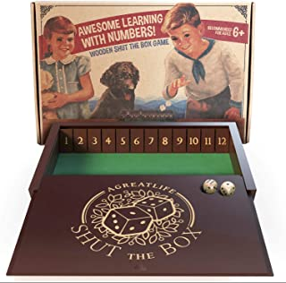 aGreatLife Wooden Shut The Box - Classic Multiplayer Dice Game for Adults and Kids Alike - Great for Learning Number Operations