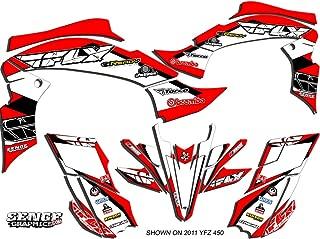 Senge Graphics kit compatible with Yamaha 2003-2008 YFZ 450 (Steel Frame), 13 Fly Racing Red Graphics Kit