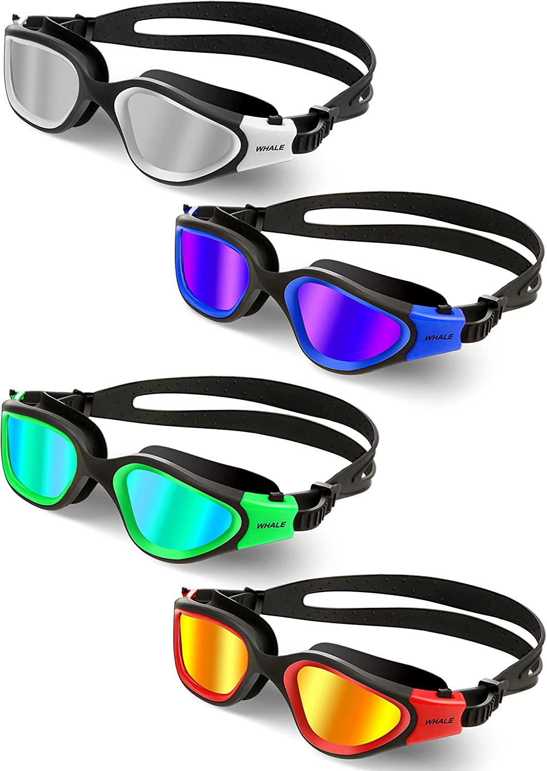 store 4 Pairs Polarized Japan's largest assortment Swimming Goggles No Leaking Anti-Fog Protec UV
