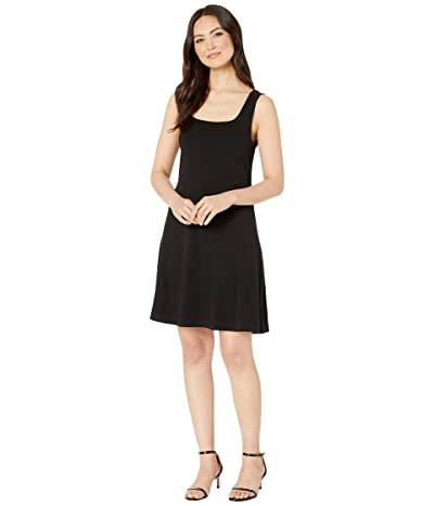 Three Dots Heritage Knit Double Square Neck Fit Flare Dress (Black) Women