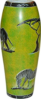 African Gift Shop Flower Vase Made of Material | Small Soapstone Handmade Floral Urns |Zebra Painted Rose Urns |Green&Black Color