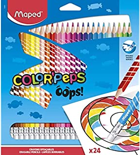 Maped Colour Oops Color'Peps-24 Colouring Pencils with Triangular Ergonomic Eraser Tip - Pack of 24 Erasable Resin Pencil...