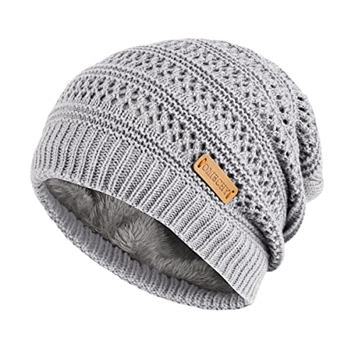 07272b6216d OMECHY Unisex Slouchy Beanie Hats Winter Warm Knit Skull Fleece Ski Cap 4  Color